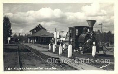 dep001666 - Real Photo -Alaska RR Depot, Fairbanks, AL, Alaska, USA Train Railroad Station Depot Post Card Post Card