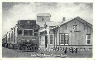 dep001669 - Santa Fe RR Station, Coldwater, KS, Kansas, USA Train Railroad Station Depot Post Card Post Card