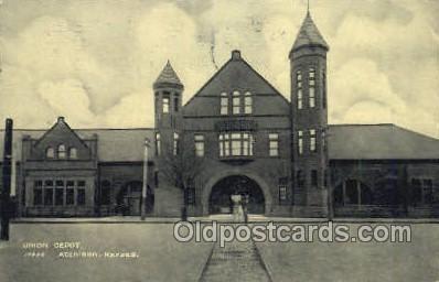 dep001695 - Union Depot, Atchison, KS, Kansas, USA Train Railroad Station Depot Post Card Post Card
