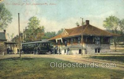 dep001696 - Car Station, Fort Leavenworth, KS, Kansas, USA Train Railroad Station Depot Post Card Post Card