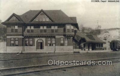dep001701 - CCC8STl, Depot, Wabash, IN, Indiana,USA Kodak Real Photo Paper Train Railroad Station Depot Post Card Post Card