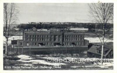 dep001720 - Alaska RR Station, Anchorage, AL, Alaska, USA Kodak Real Photo Paper Train Railroad Station Depot Post Card Post Card
