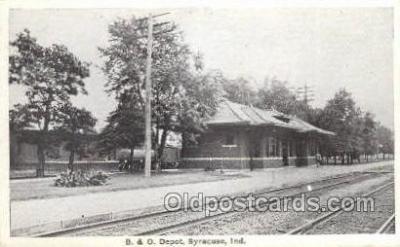 dep001777 - B and O Depot, Syracuse, IN, Indiana, USA Train Railroad Station Depot Post Card Post Card