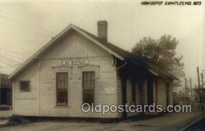 dep001778 - N and W Depot, Whitley, IN, Indiana, USA Kodak Real Photo Paper Train Railroad Station Depot Post Card Post Card