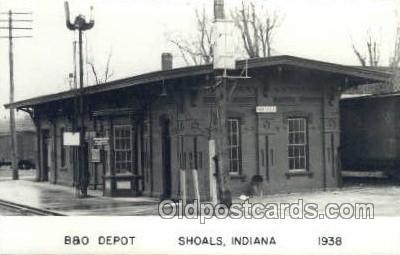 dep001786 - B and O Depot, Shoals, IN, Indiana, USA Kodak Real Photo Paper Train Railroad Station Depot Post Card Post Card