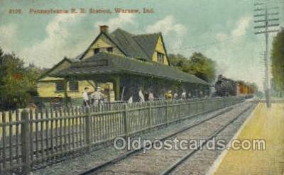 dep001803 - Pennsylvania, RR Station, Warsaw, IN, Indiana , USA Train Railroad Station Depot Post Card Post Card