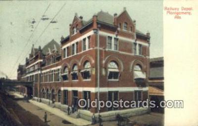 dep001906 - Railway Depot, Montgomery, AL, Alabama, USA Depot Postcard, Railroad Post Card