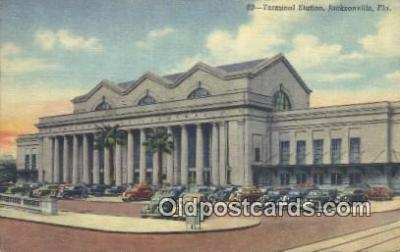 dep001917 - Terminal Station, Jacksonville, FL, Florida, USA Depot Postcard, Railroad Post Card