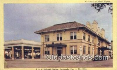 dep001920 - L & N Railroad Station, Pensacola, FL, Florida, USA Depot Postcard, Railroad Post Card