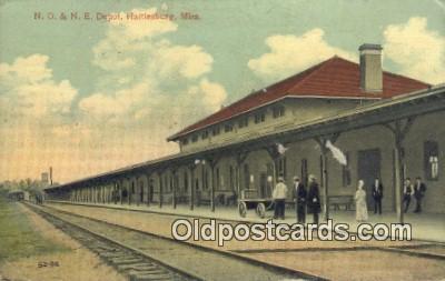 dep001951 - NO & NE Depot, Hattlesburg, MS, Mississippi, USA Depot Postcard, Railroad Post Card