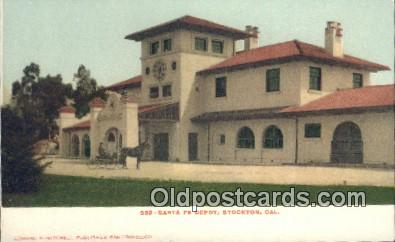 dep002079 - Santa Fe Depot, Stockton, CA, California, USA Depot Postcard, Railroad Post Card