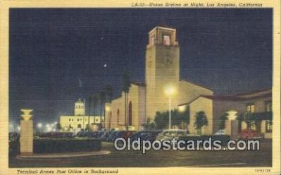 dep002092 - Union Station, Los Angeles, CA, California, USA Depot Postcard, Railroad Post Card