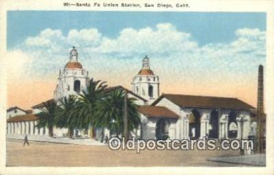 dep002109 - Santa Fe Union Station, San Diego, CA, California, USA Depot Postcard, Railroad Post Card