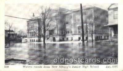 dtr001039 - New Albany, Indiana, IN, USA Flood Junior High School, Jan. 1937 Disaster, Wrecks, Postcard Post Card Old Vintage Antique