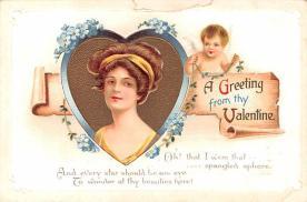 dam002015 - Valentines Day Post Card Old Vintage Antique Postcard
