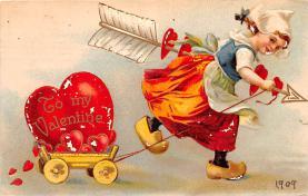 dam002017 - Valentines Day Post Card Old Vintage Antique Postcard