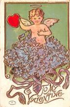 dam002035 - Valentines Day Post Card Old Vintage Antique Postcard