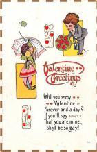 dam002053 - Valentines Day Post Card Old Vintage Antique Postcard