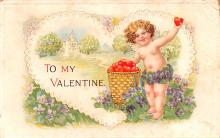 dam002107 - Valentines Day Post Card Old Vintage Antique Postcard