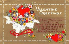 dam002133 - Valentines Day Post Card Old Vintage Antique Postcard