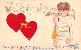 dam002185 - Valentines Day Post Card Old Vintage Antique Postcard