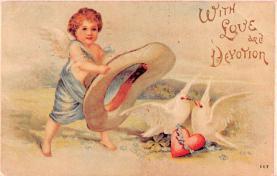 dam002229 - Valentines Day Post Card Old Vintage Antique Postcard