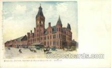 dep001054 - Wells St  Station, Chicago, IL USA Train Railroad Station Depot Post Card Post Card
