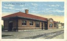 dep001065 - Cb and Q Depot, Ottawa, IL USA Train Railroad Station Depot Post Card Post Card
