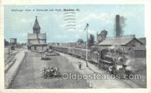 dep001075 - RR and Park, Mendota, IL USA Train Railroad Station Depot Post Card Post Card