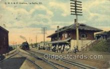 dep001076 - CRI and P Depot, La Salle, IL USA Train Railroad Station Depot Post Card Post Card