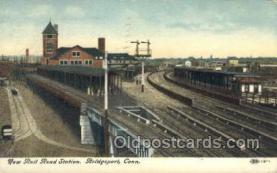 dep001101 - RR station, Bridgeport, CT USA Train Railroad Station Depot Post Card Post Card