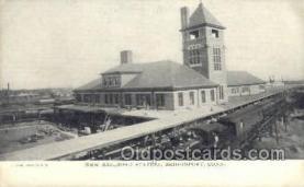 dep001103 - New RR Station, Bridgeport, CT USA Train Railroad Station Depot Post Card Post Card