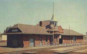 dep001126 - Santa FE Railway Station, Perris, CA USA Train Railroad Station Depot Post Card Post Card