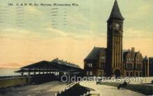 dep001200 - C and NW Station, Milwaukee, WI, Wisconsin, USA Train Railroad Station Depot Post Card Post Card