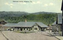 dep001223 - Railroad Station, Windsor, VT, Vermont, USA Train Railroad Station Depot Post Card Post Card