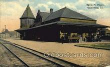 dep001426 - Santa Fe Depot, Galesburg, Il, Illinois, USA Train Railroad Station Depot Post Card Post Card