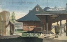 dep001460 - Northwestern Station, Waukegan, IL, Illinois, USA Train Railroad Station Depot Post Card Post Card