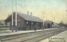 dep001461 - C and NN Depot, Woodstock, IL, Illinois, USA Train Railroad Station Depot Post Card Post Card