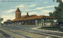 dep001463 - Electric, R Depot, Zion City, IL, Illinois, USA Train Railroad Station Depot Post Card Post Card