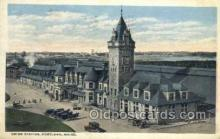 dep001533 - Union Station, Portland, ME, Maine, USA Train Railroad Station Depot Post Card Post Card