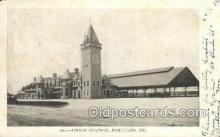 dep001534 - Union Station, Portland, ME, Maine, USA Train Railroad Station Depot Post Card Post Card