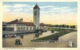dep001539 - B and O Mount Royal Station, Baltimore, MD, Maryland, USA Train Railroad Station Depot Post Card Post Card