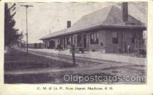 dep001562 - CM and St P, New Depot, Madison, SD, South Dakota, USA Train Railroad Station Depot Post Card Post Card