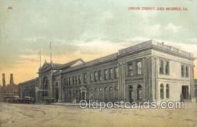 dep001582 - Union Depot, Des Moines, IA, Iowa, USA  Train Railroad Station Depot Post Card Post Card
