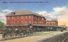 dep001587 - Atlantic Coastline RR Station, Rocky Mountains, NC, North Carolina, USA Train Railroad Station Depot Post Card Post Card