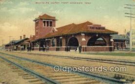 dep001593 - Santa Fe Depot, Fort Madison, IA, Iowa, USA Train Railroad Station Depot Post Card Post Card