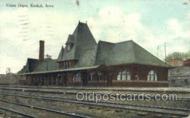 dep001594 - Union Depot, Keokuk, IA, Iowa, USA Train Railroad Station Depot Post Card Post Card