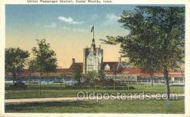 dep001603 - Union Passenger Station, Cedar Rapids, IA, Iowa, USA Train Railroad Station Depot Post Card Post Card