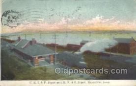 dep001604 - CR I and P Depot, Muscatine, IA, Iowa, USA Train Railroad Station Depot Post Card Post Card