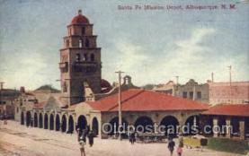dep001613 - Santa Fe Depot, Albuquerque, NM, Mew Mexico, USA Train Railroad Station Depot Post Card Post Card